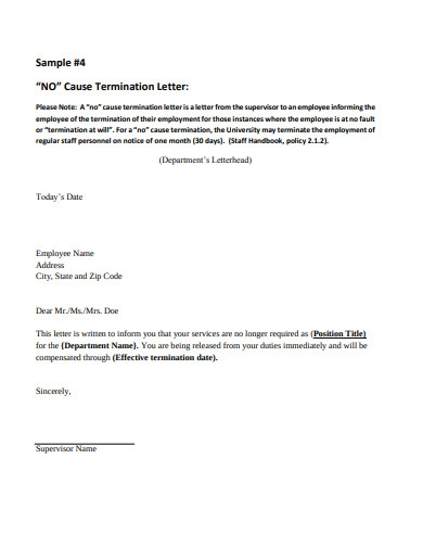 employee termination letter example in pdf