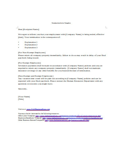 employee termination letter template in doc