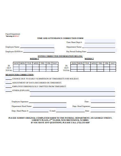 employee time attendance correction form