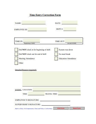 employee time entry correction form