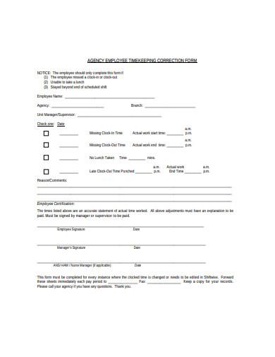 employee timekeeping correction form