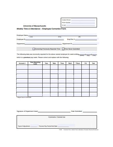 employee timesheet correction form