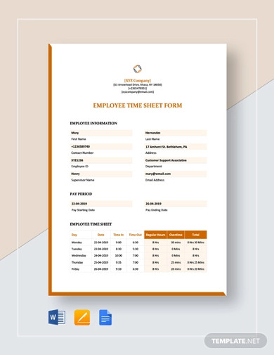 employee timesheet form template