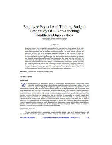 employee training budget example