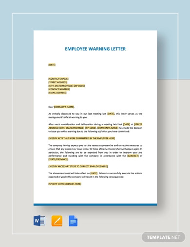 employee warning letter templates