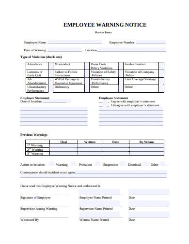 employee warning notice in pdf