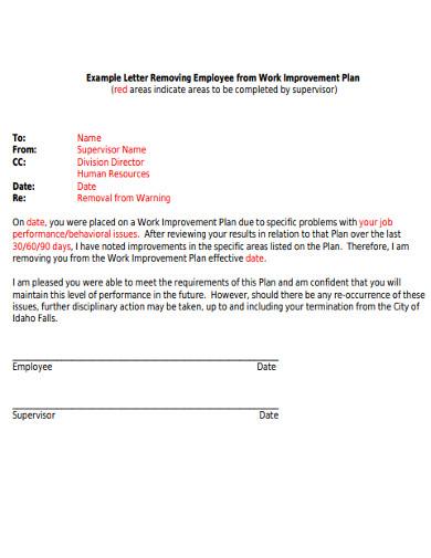 employee work improvment letter