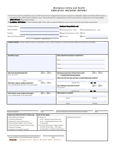 employee workplace safety and health incident report