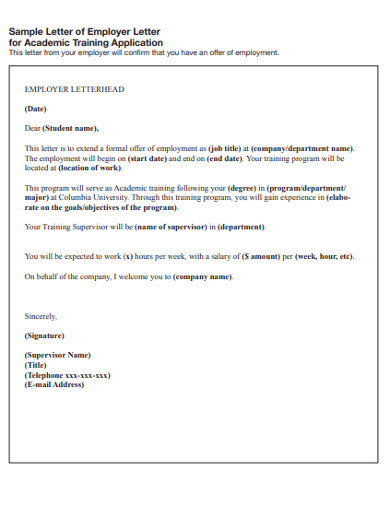 employer training letter example