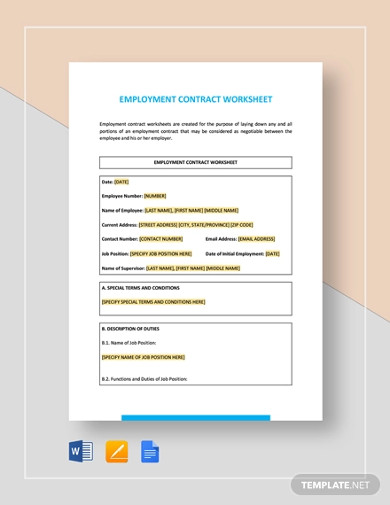 employment contract worksheet template