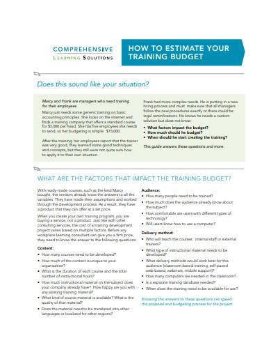 estimate training budge