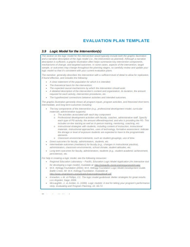 evaluation plan template example
