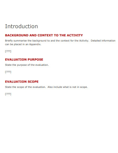 evaluation planning template
