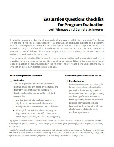 evaluation questions checklist