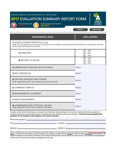 evaluation summary report form
