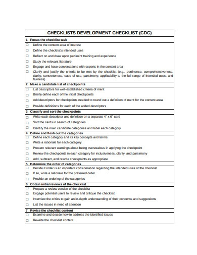 evaluation checklist template
