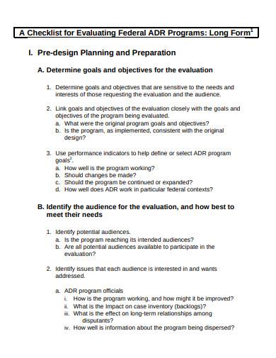 evaluation checklist in pdf