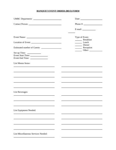 event order sheet