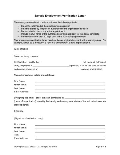 exostar income verification letter