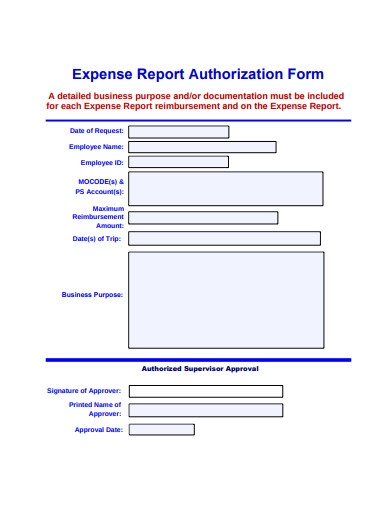 expense report authorization form