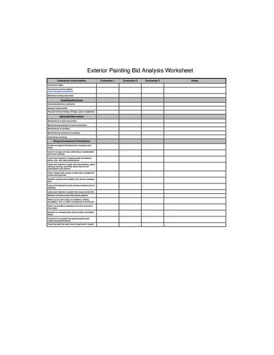 exterior painting bid analysis worksheet template