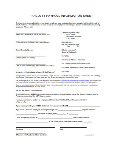 faculty payroll information sheet
