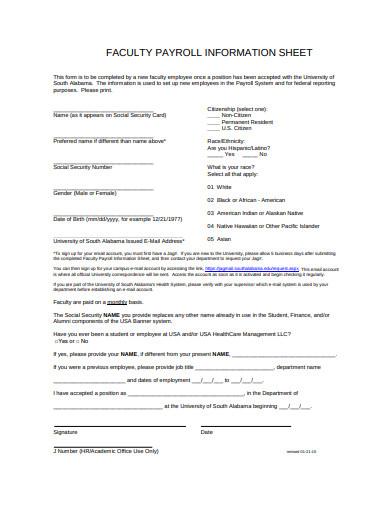 faculty payroll information sheet