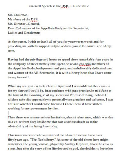 farewell speech in pdf