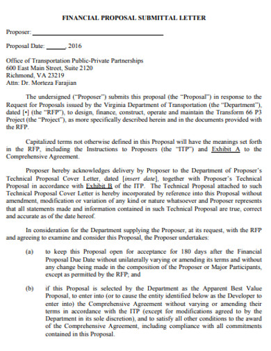 financial proposal submittal letter