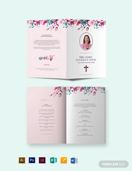 floral funeral memorial bi fold brochure template