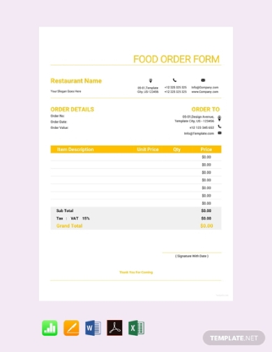 food product order form