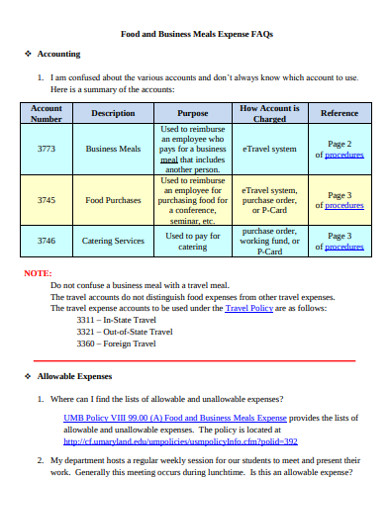 food and business meals expense