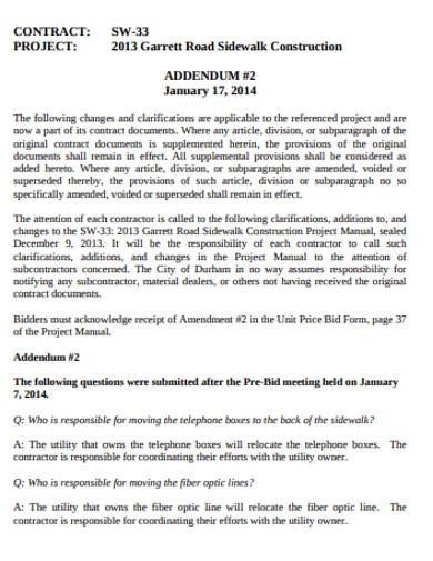 formal construction addendum in pdf