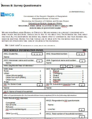 formal survey questionnaire