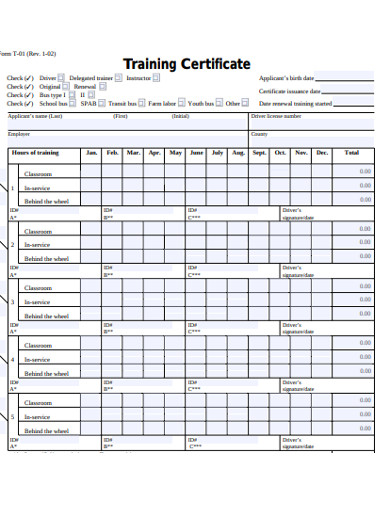 formal training certificae example