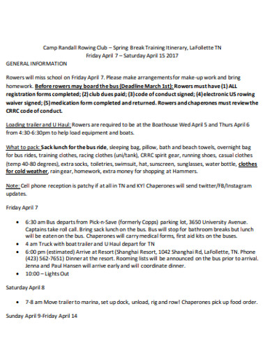 formal training itinerary example