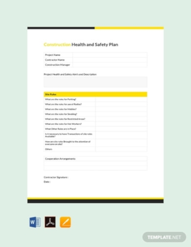 free construction health and safety plan template