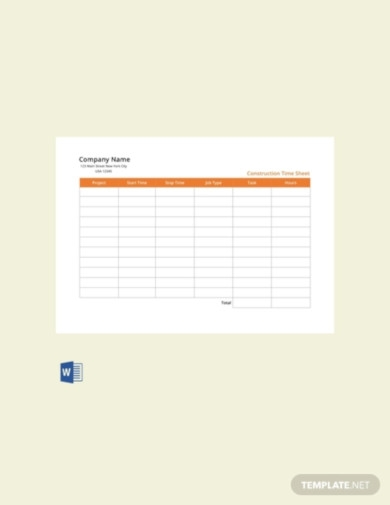 free construction time sheet