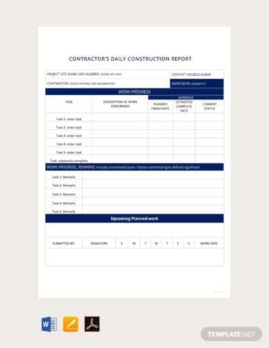 free daily construction report template