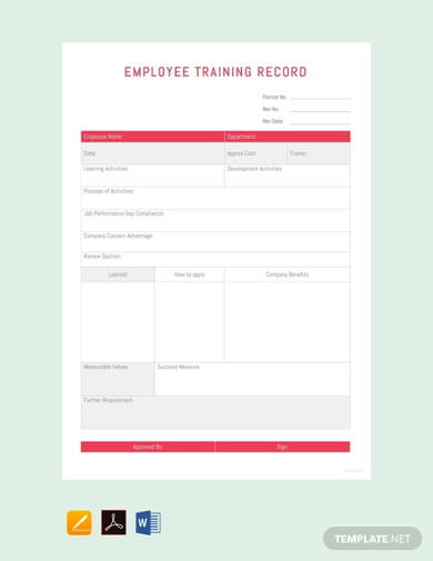 free employee training record template