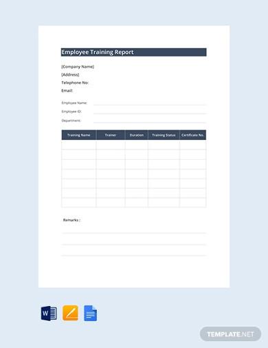 free employee training report template