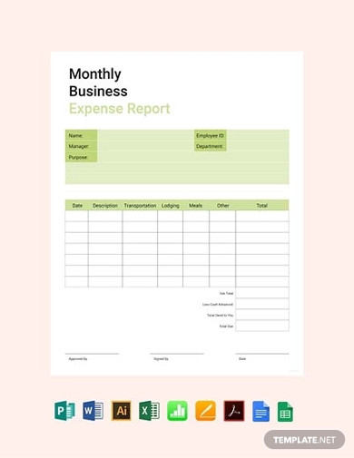 free monthly business expense report template