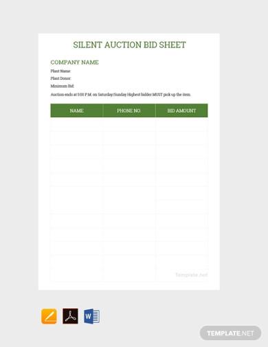 free sample silent auction bid sheet template