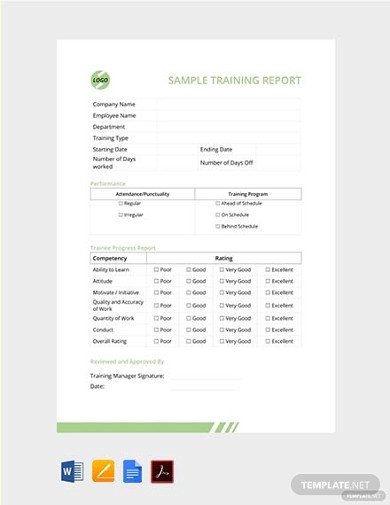 free sample training report template
