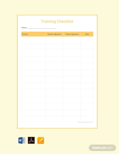 free training checklist template