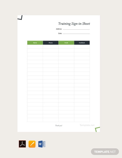 free training sign in sheet template