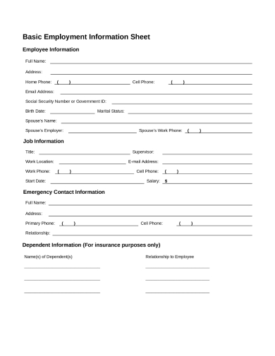 fundamental employee information forms