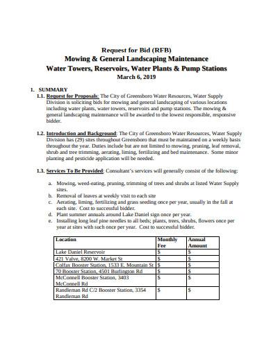 general landscaping maintenance bid