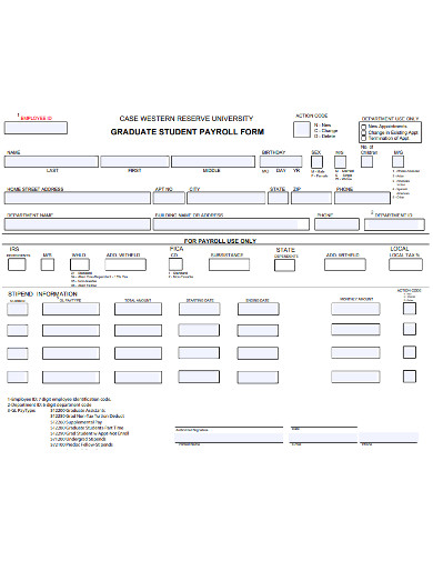 graduate student payroll form example