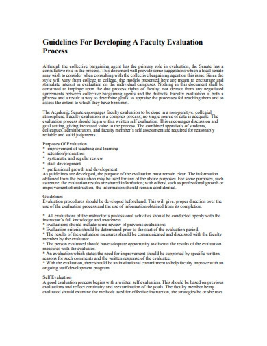 guidelines for developing a faculty evaluation